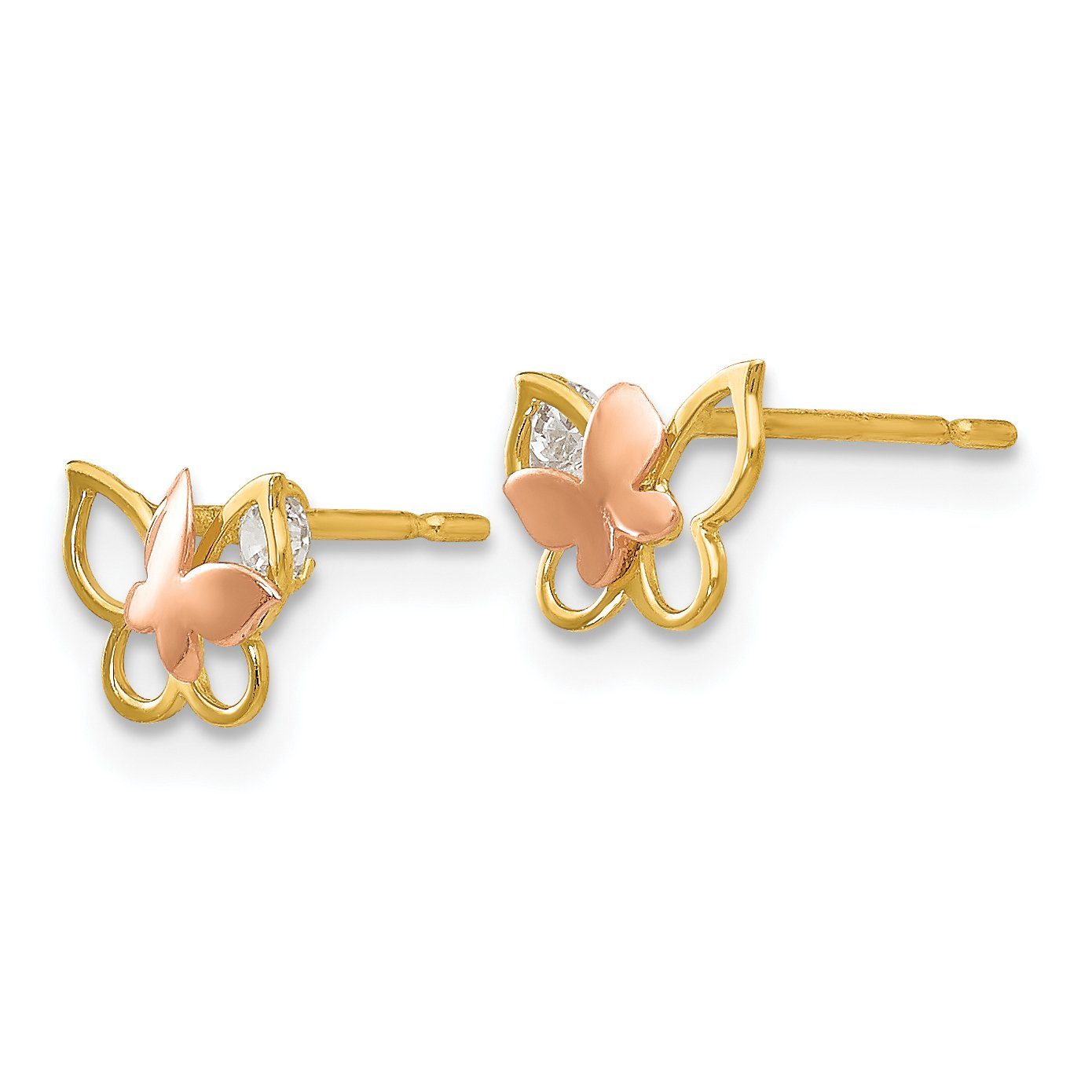 Approximate Measurements 7mm x 8mm Madi K 14K Two-Tone Gold CZ Small Butterfly Post Earrings