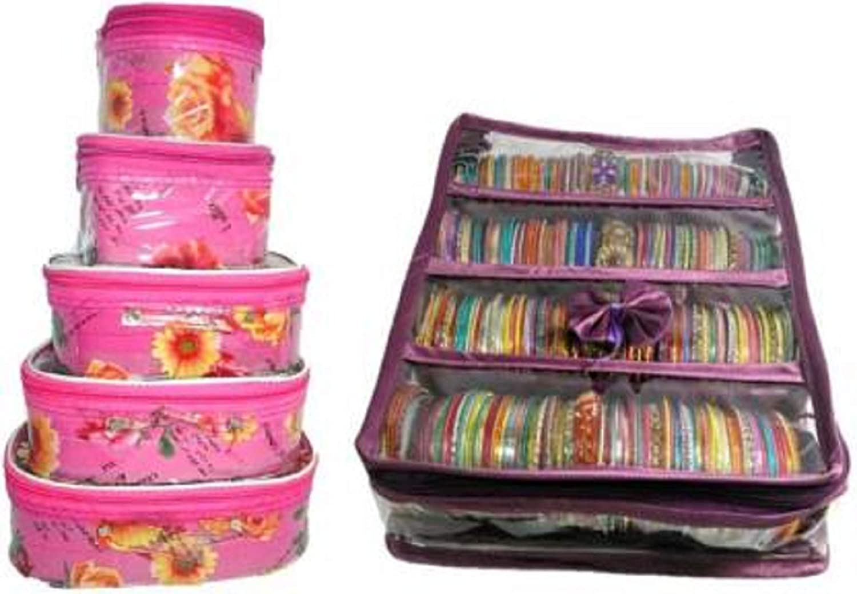 4 Rods Purple Bangle Jewelry Box Bracelet Bag Travel Organizer Vanity Case Kit