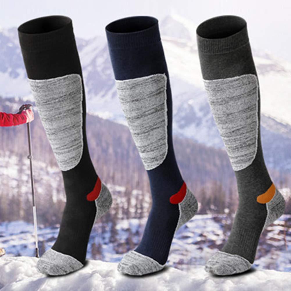 1 par de calcetines de esquí térmicos de alto rendimiento para hombre, manguera larga, calcetines gruesos, cómodos, transpirables, adecuados para deportes ...