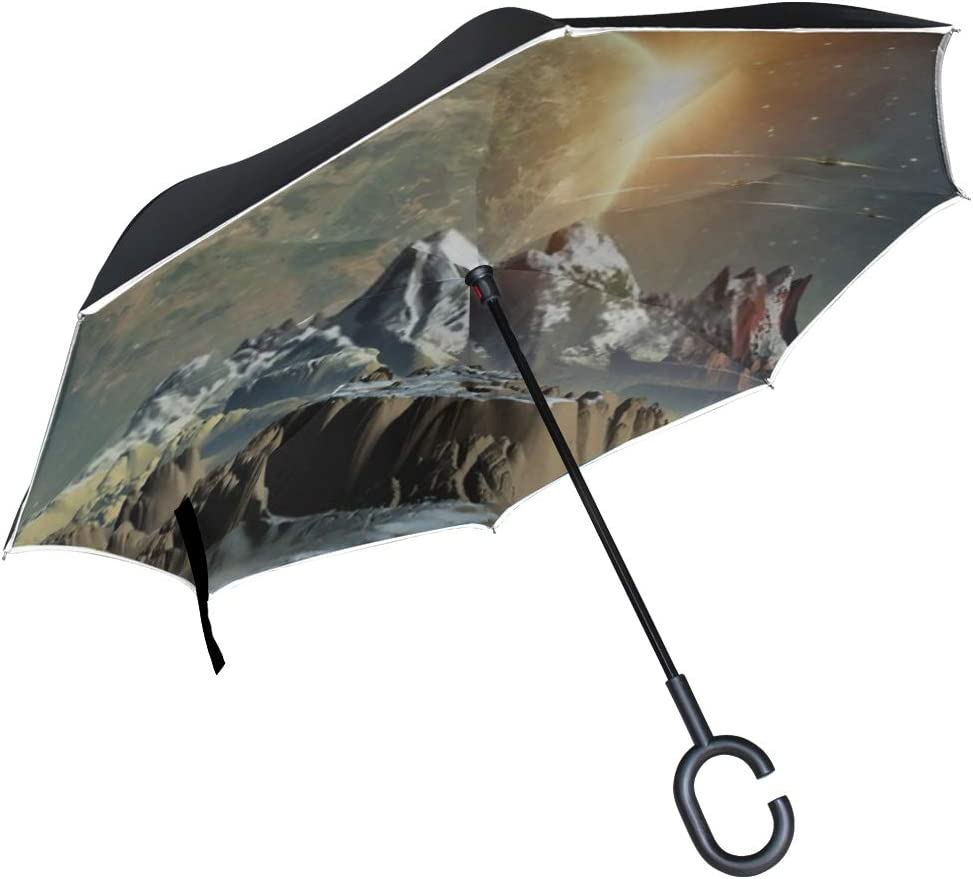 Double Layer Inverted Inverted Umbrella Is Light And Sturdy Alien Planet 3d Rendered Computer Artwork Reverse Umbrella And Windproof Umbrella Edge Ni