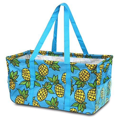 Zodaca All Purpose Wireframe Utility Tote Bag, Pineapple