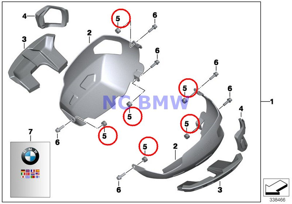BMW Genuine Cylinder Head Valve Cover Guard Bush DI=7 L=6.5 R nine T R1200GS R1200GS Adventure R1200RT R1200R