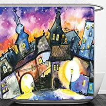 Interestlee Shower Curtain Wanderlust Decor Funky Watercolors Paint Small Town with Weird Angles at Night Light Reflections Mist Image Multi