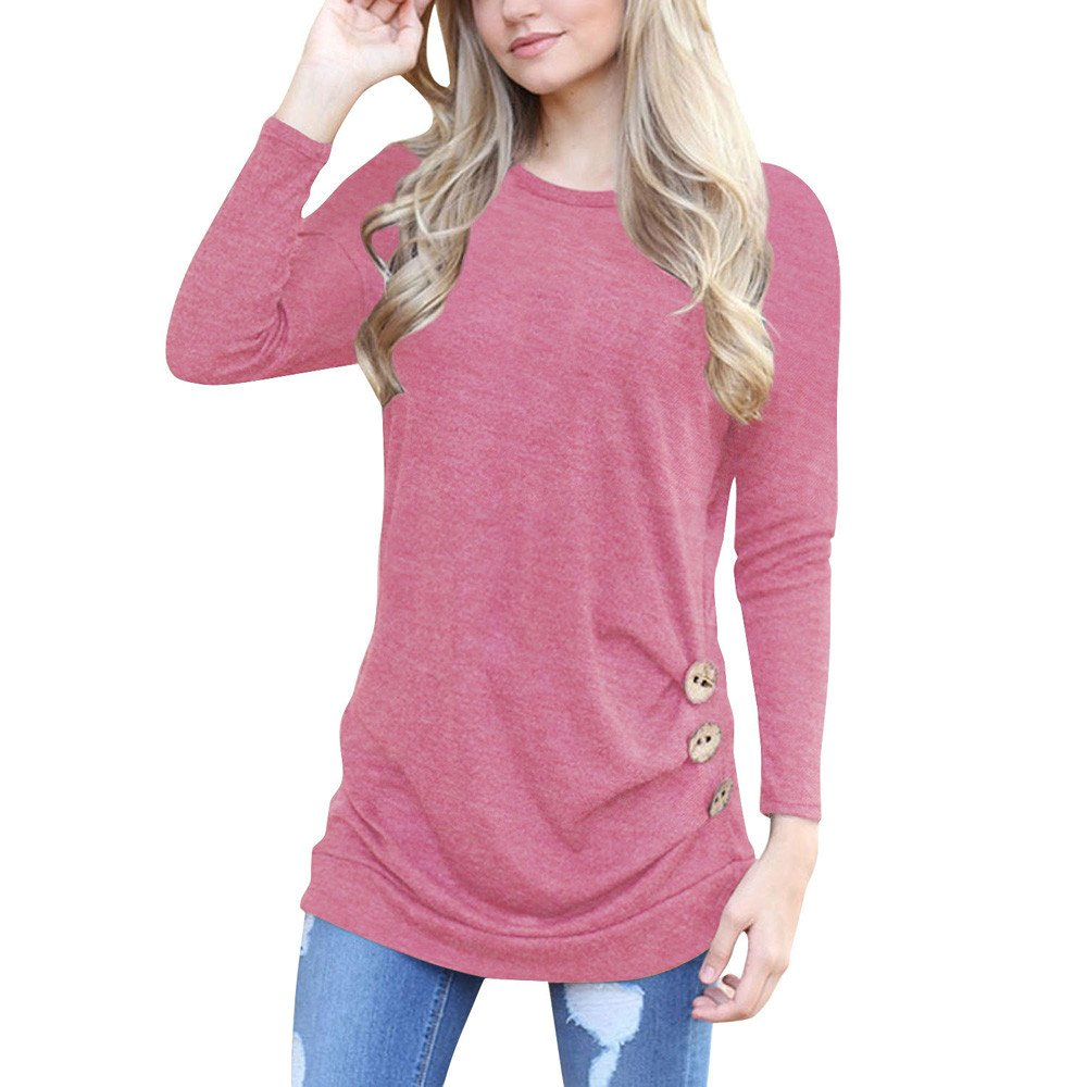 Women Tunic Tops Long Sleeve Button Loose Round Neck Solid Color Casual Blouse Shirt (S, Pink)