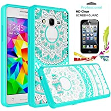 Galaxy Grand Prime / J2 Prime / Grand Prime Plus Case With Clear HD Screen Protector, AnoKe Colors Totem Mandala Slim Fit Acrylic TPU Hybrid For Samsung G5308 TM CH Mint