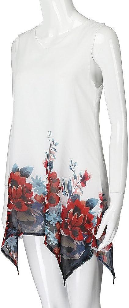 PERFURM S - 5XL Casual Baggy Chiffon Floral V Neck Sleeveless Dress for Women Elegant Comfy Beach Boho Tunic Dresses White