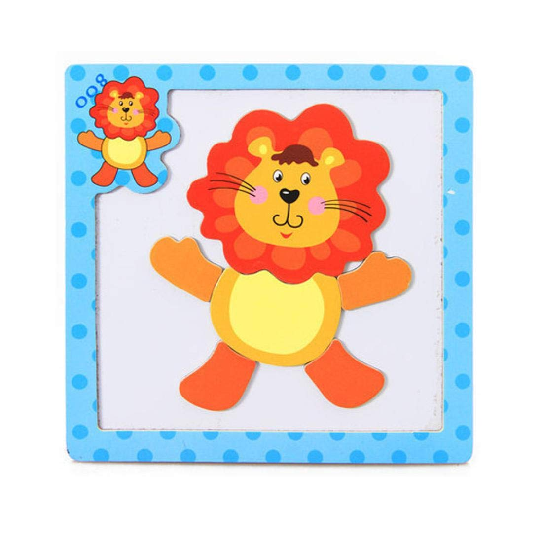 Roysberry Toys - Wooden Educational Magnetic Preschool Sun Lion 3D Puzzle Shape Color Recognition Stereoscopic Alphabet Puzzle Toys - Birthday Gift Toy Jigsaw Puzzles for Kids