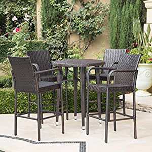 Patricia Outdoor 5 Piece Multibrown Wicker 32.5 Inch Round Bar Table Set