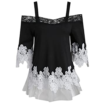 21a05da20ddce0 Milktea Damen Tops Bluse Mode Frauen öffnen Schulter Tops Bluse Sexy Floral  Applique Spitze Mesh T