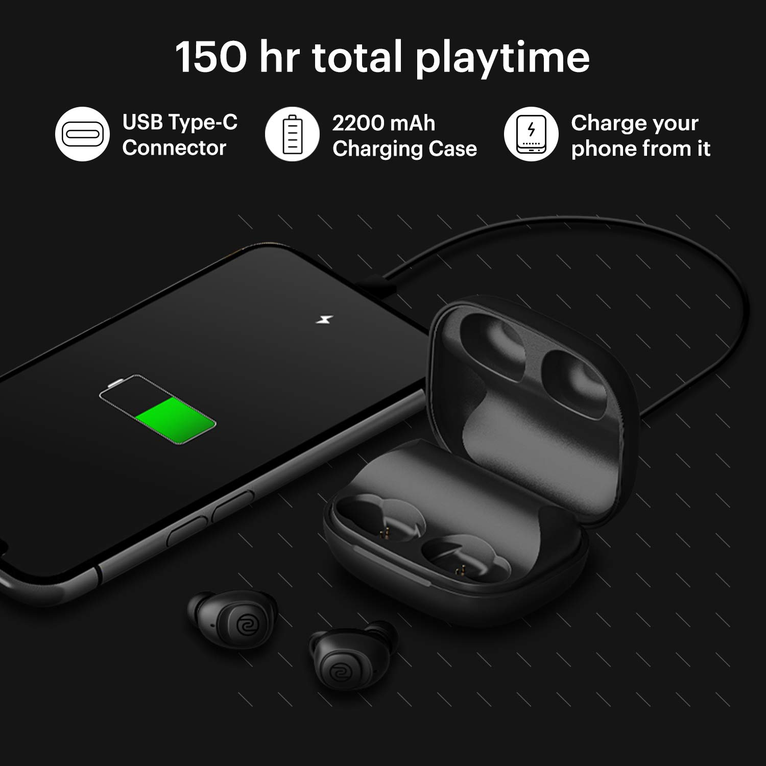 Noise Shots X5 PRO Bluetooth Truly Wireless Earbuds, 150 Hrs Playback with Qualcomm AptX and in-Built Powerbank for Reverse Charging