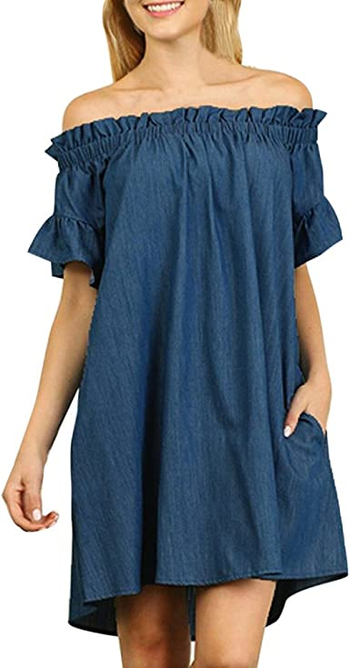 White,XL Creazrise Womens Off Shoulder Long Sleeve Plaid Flared Drop Hem Tied Casual Swing Mini Dress