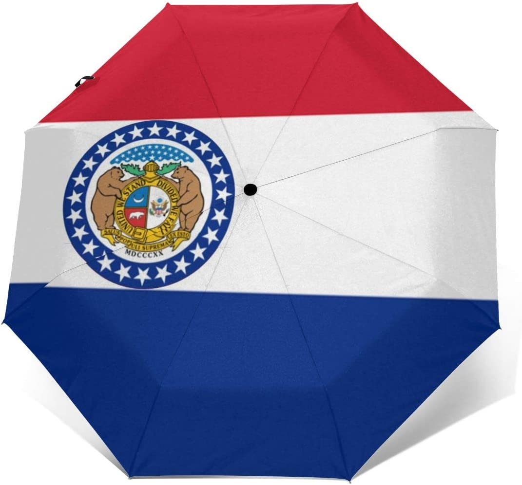 Missouri State Flag Automatic Tri-fold Umbrella Interesting Windproof Anti UV Rain//Sun Travel Umbrella Light Weight.