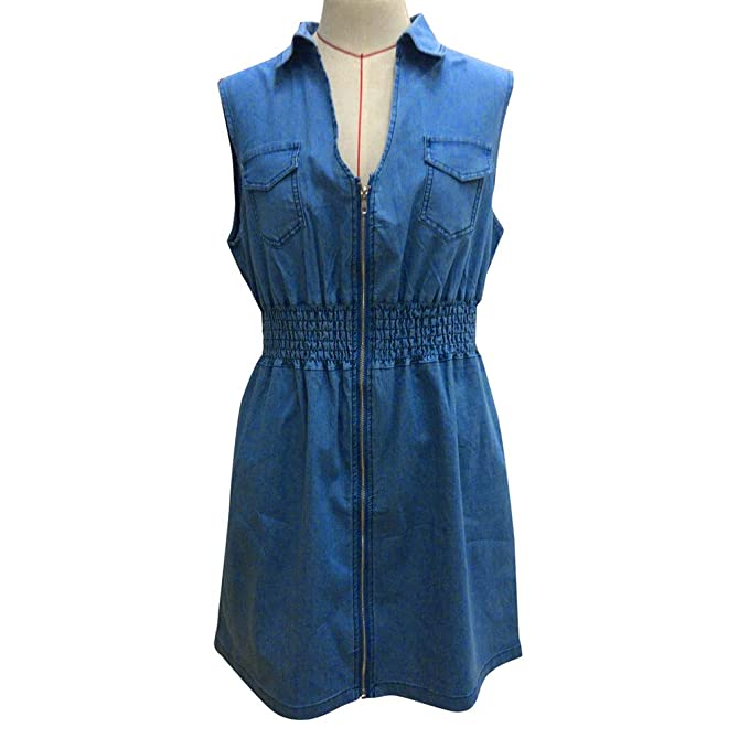 545db65c7774 Womens Plus Size Denim Dress, Summer Casual Sleeveless Sexy V-neck Zip Up  Mini Jeans Dress L-5XL: Clothing