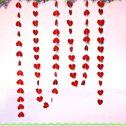 2m String of Red Love Hearts Garland Hanging Decor Day Wedding Party Banner