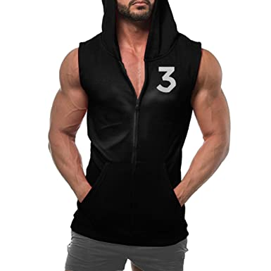 Chance The Rapper Coloring Book No3 Mens Zip Hoodie Sweatshirt Sleeveless With Pocket Large