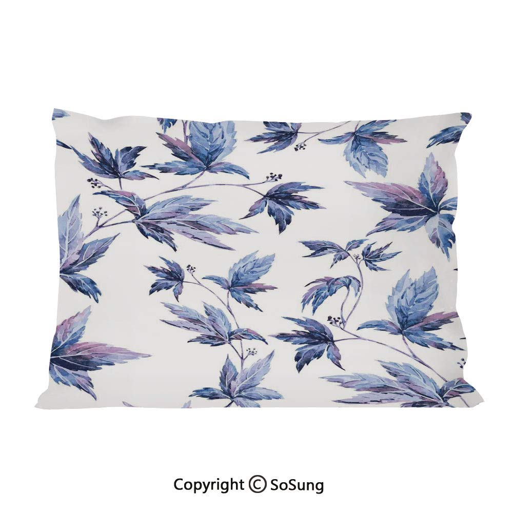 """Indigo Bed Pillow Case/Shams Set of 2,Abstract Grunge Watercolored Hand Drawn Image Shadow Tree Leaves King Size Without Insert (2 Pack Pillowcase 36""""x20""""),Purple Dark Blue and White"""