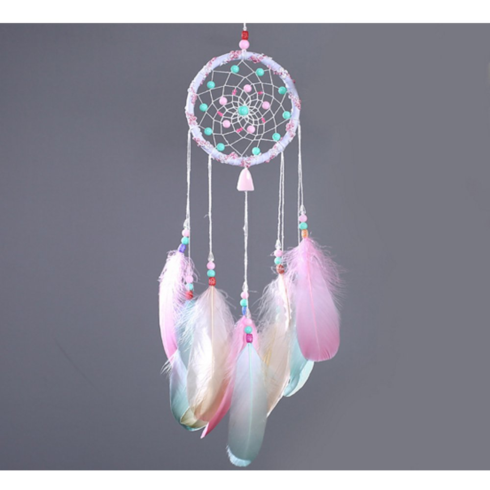 DOFE Colorful Dream Catchers,Small Dream Catcher,Handmade Dream Catcher,Dream Catchers For Bedroom. (Pink)