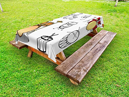 Lunarable Drums Outdoor Tablecloth, Trap Set Western Eastern Bongo Timpani Folk Rock Pop Modern Image, Decorative Washable Picnic Table Cloth, 58