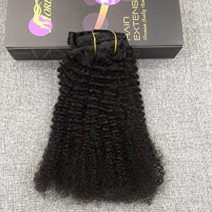 Moresoo 12 Inch 7pcs/120g Short Afro Curly Clip in Off Black Remy Human Hair Extension Good Quality For African American Women