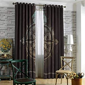 """Costom-drapes Textured Geometry Lattice Grommet Window Treatment Set for Kids Room, Compass Boating Icon Ship Rope Fashion Darkening Curtains, 96"""" X 108"""", Multicolor"""