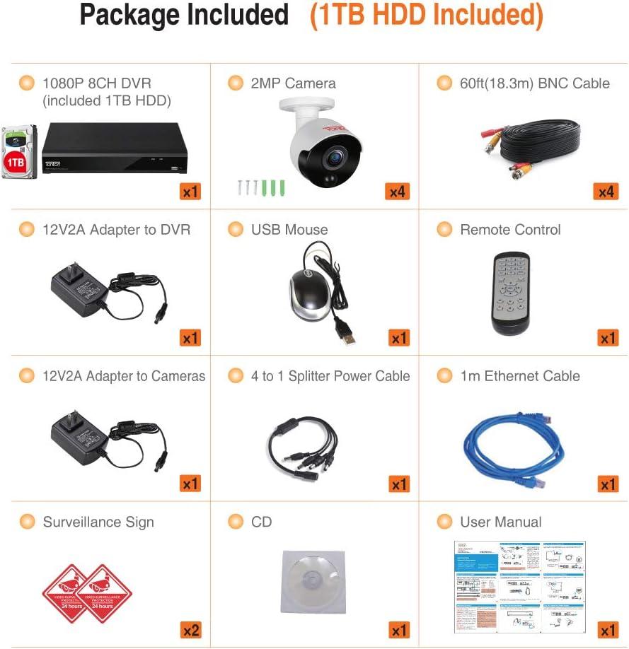 【PIR-Bewegungsmelder】 Tonton 1080P Full HD Video /Überwachungssystem 8CH 1080P HDMI DVR Recorder mit 4 Au/ßen 2.0MP 3000TVL Wei/ß /Überwachungskamera Set 20M IR Nachtsicht PIR Sensor 1TB HD Festplatte
