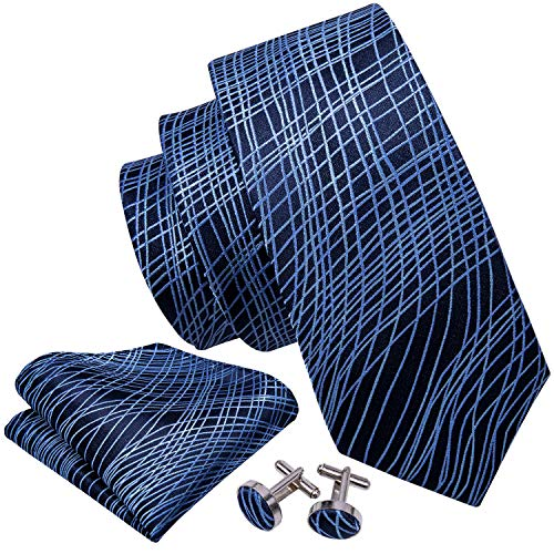 Barry.Wang Striped Tie for Men Woven Blue Necktie Set
