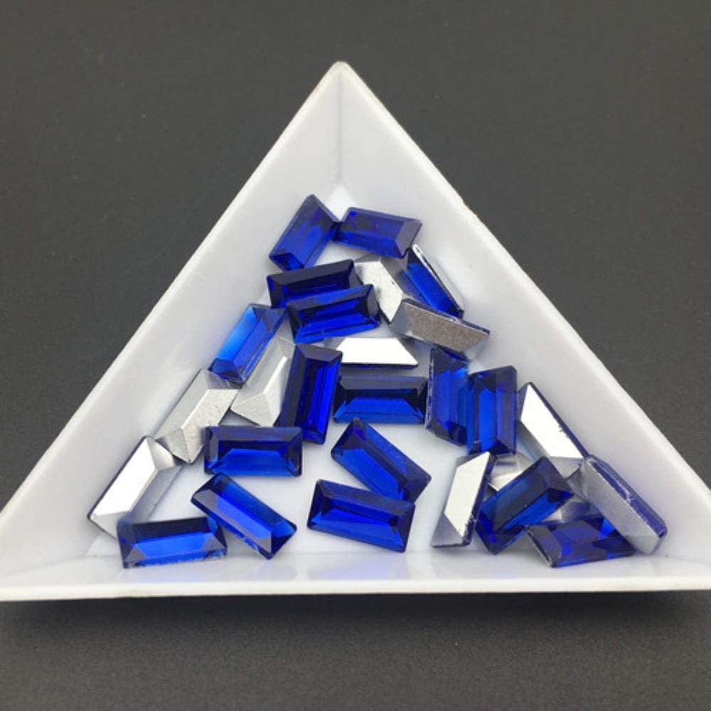PENVEAT Nice Colors 3X7mm, 5x10mm 50pcs Small Baguette Rhinestones Point Back Tiny T Shape Glass Crystals DIY Nail Art Stone, Cobalt, 3x7mm