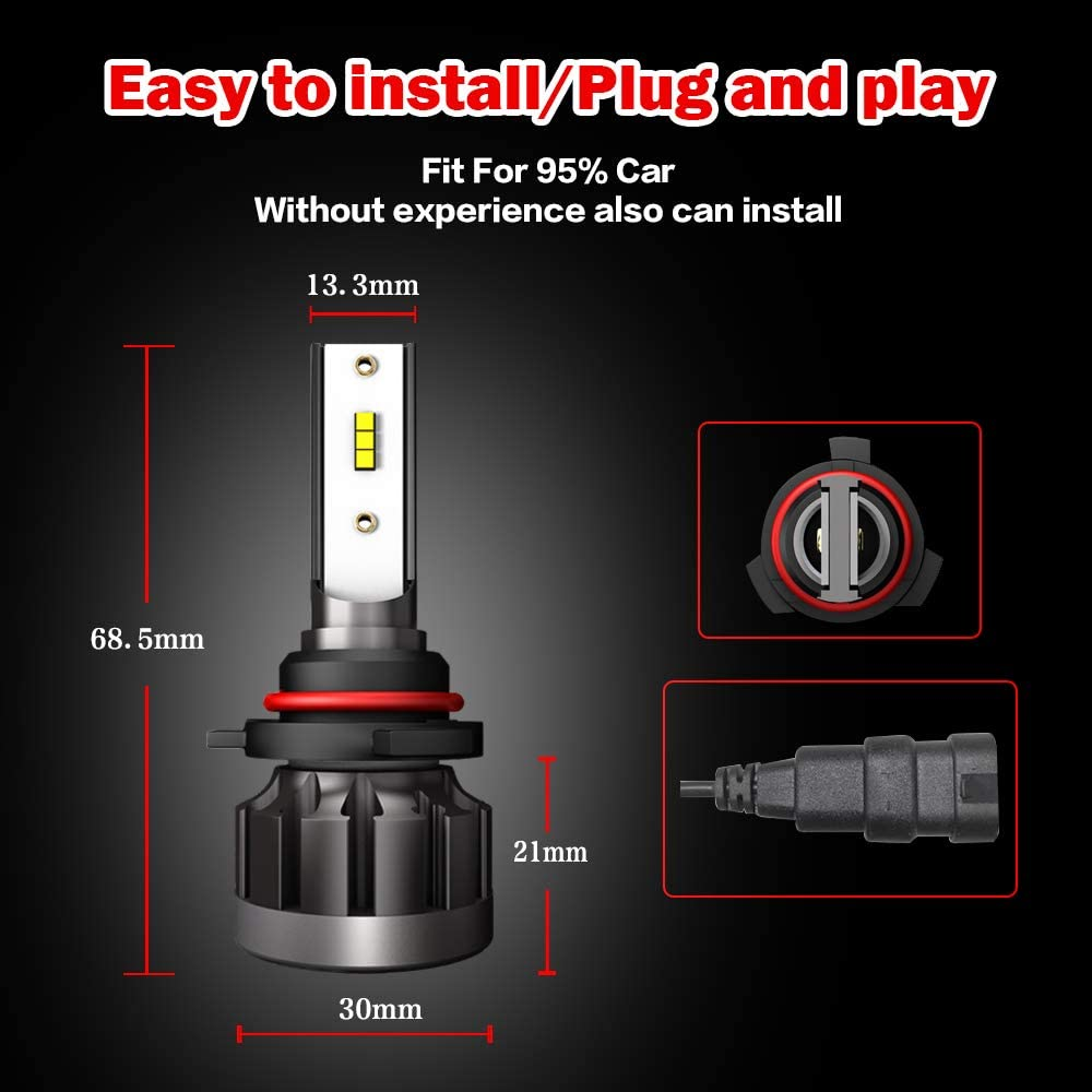 A-Partrix H4//9003 LED Headlight Bulb 6000K 36W 8000 Lumens Xenon White Extremely Bright All-in-One Conversion Kit-2 Packs
