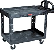 Rubbermaid Commercial Products 2-Shelf Utility/Service Cart, Medium, Lipped Shelves, Ergonomic Handle, 500 Lbs. Capacity, For