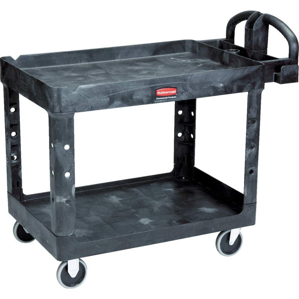 Rubbermaid Commercial Products 2-Shelf Utility/Service Cart, Medium, Lipped Shelves, Ergonomic Handle, 500 lbs. Capacity, for Warehouse/Garage/Cleaning/Manufacturing (FG452088BLA) by Rubbermaid Commercial Products