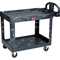 Rubbermaid Commercial Products 2-Shelf Utility/Service Cart, Medium, Lipped Shelves...