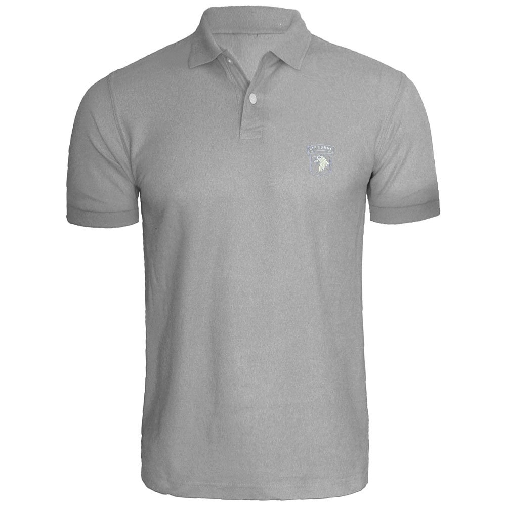 Loo Show Mens 101st Airborne Stencil Embroidered Polo Shirts Men Shirts