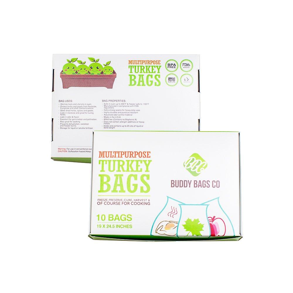 "Buddy Bags Co Multipurpose Nylon Turkey Oven Bags - 19"" x 24.5"" - 10 Pack"