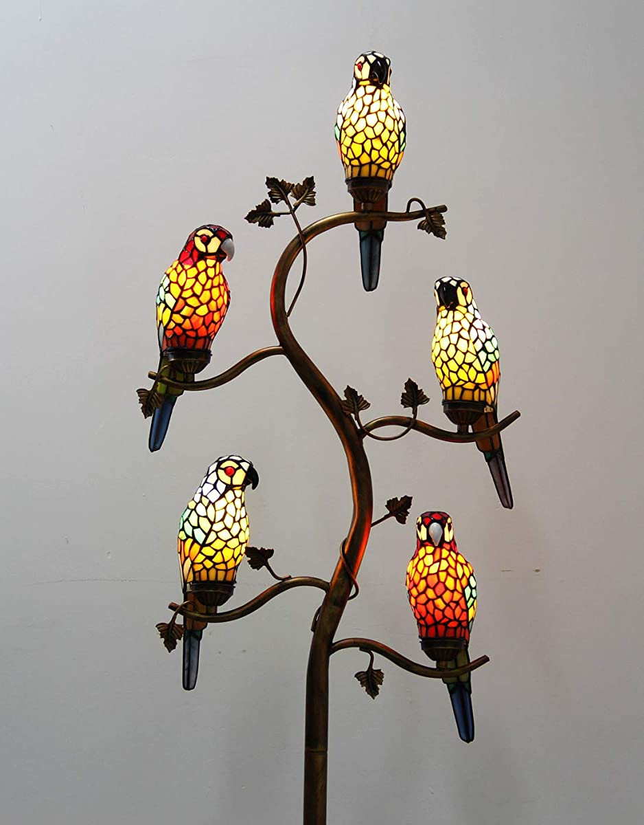 Makenier Vintage Tiffany Style Stained Glass 5-light Parrot Tree Branch Bedroom Living Room Study Floor Lamp