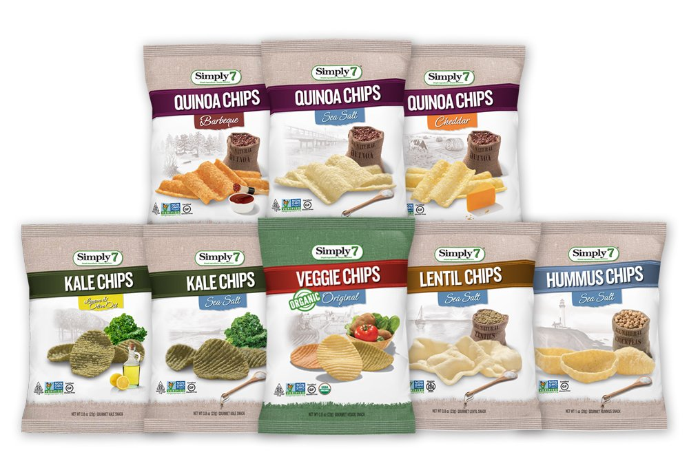 Simply7 Gluten Free Single Serve Chips Variety Pack, 8 Count