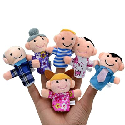 Novobey 6 Pcs Family Finger Puppets Toy for Kids, Shows, Playtime, Schools - Includes Grandpa, Grandma, Mom, Dad, Brother & Sister: Toys & Games