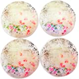 Set of 4 Shabby Floral Wood Cabinet Knobs