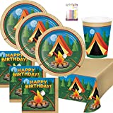 Camp Out Camping Theme Birthday Party Supplies Pack Serves 16: Dinner Plates, Luncheon Napkins, Cups, Table Cover and Birthday Candles