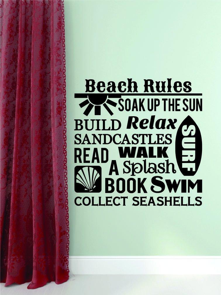 Design with Vinyl RAD 959 2 Beach Rules Soak Up The Sun Build Relax Surf Sandcastles Read A Book Walk Splash Swim Collect Seashells Quote Wall Decal Black 16 x 16