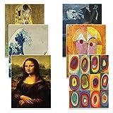 Creanoso Famous Art Paintings Postcards Cards (60 Pack)- Pablo Picasso, Gustav Klimt, Wassily Kandinsky, Leonardo da Vinci, Paul Klee, Katsushika Hokusai Painting Prints Decor Gifts