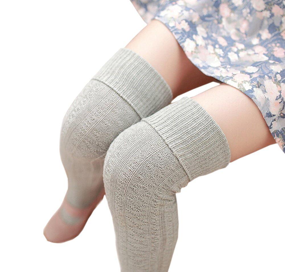 DELEY para Mujer de Color Liso Cable en el punto Sobre La Rodilla Calcetines de Algod/ón de Alta del Muslo de Disfraces