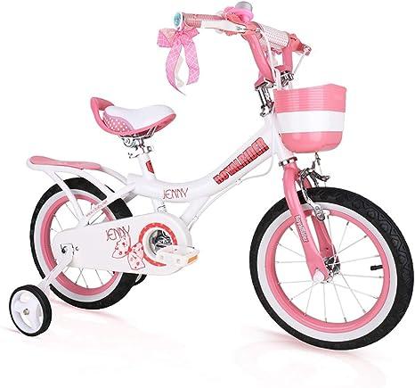 MLSH Bicicletas para niños, Ruedas de Canasta y Entrenamiento para Bicicletas de 12 y 14 y 16 y 18 Pulgadas, Ejercicios para niños al Aire Libre Bicicleta para equilibrar, Rosa: Amazon.es: Deportes
