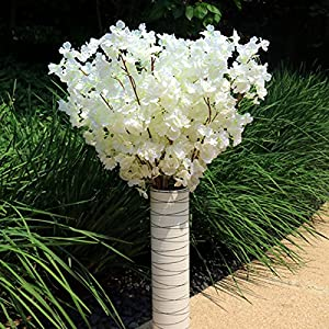 YUIOP 1 Piece Artificial Cherry Blossom Branches Flowers Stems Silk Tall Home Wedding Decoration Fake Flower Arrangements 41.3 Inch White 57