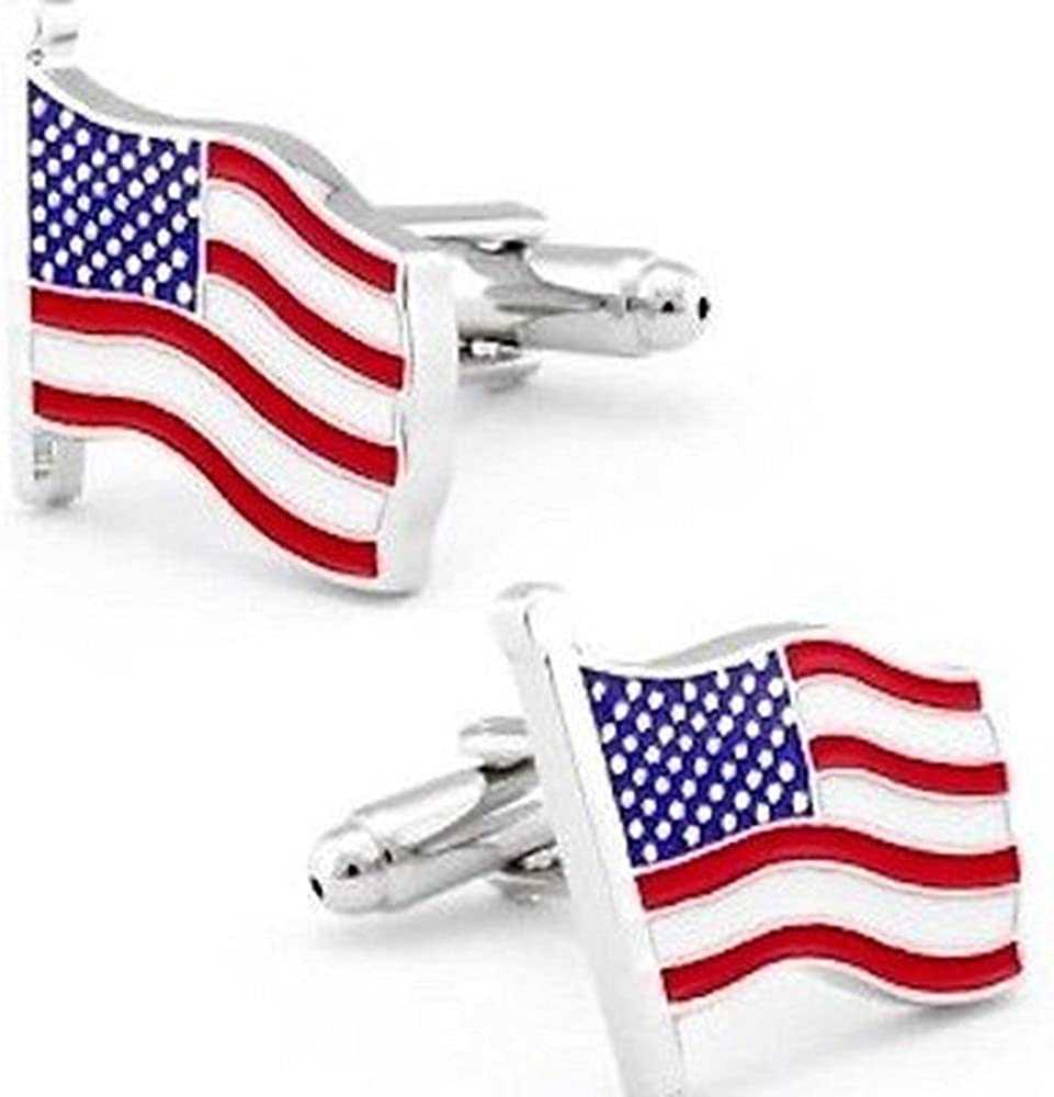 American Flag Red White Blue Cufflinks Patriotism USA