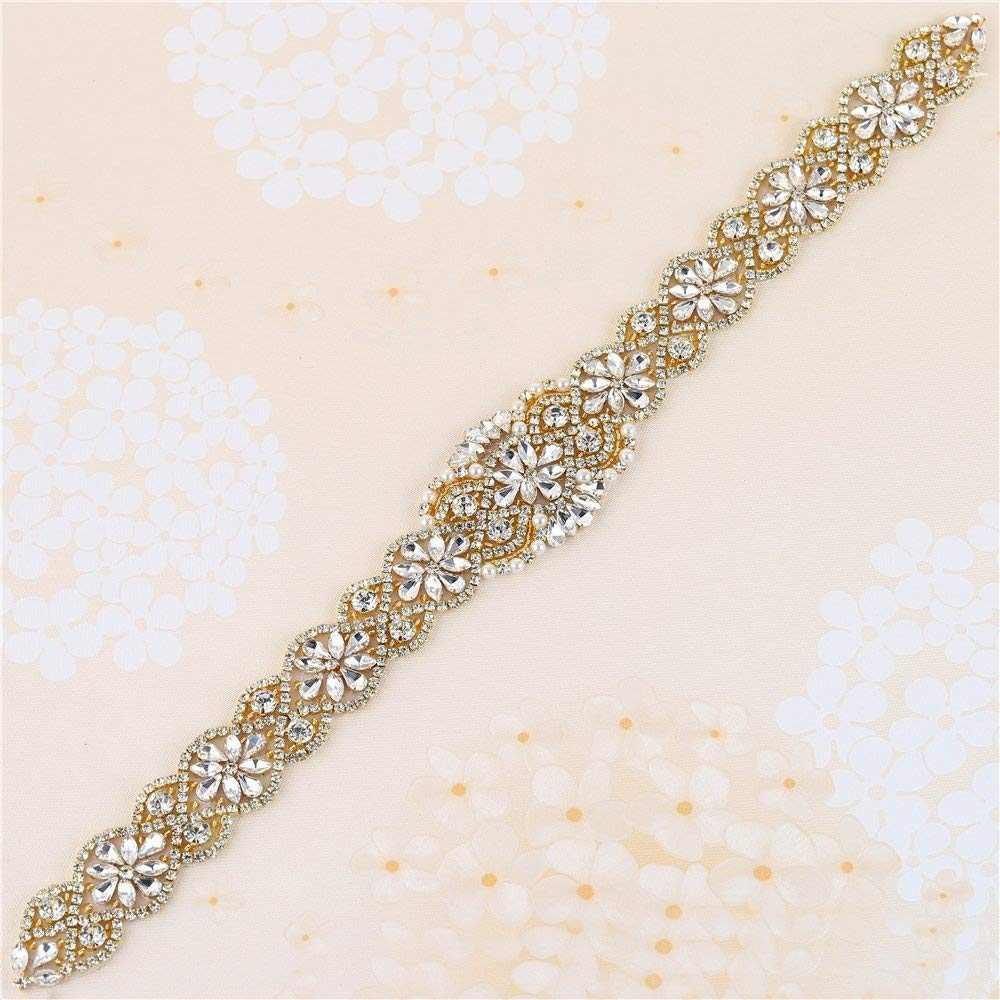 Gold XINFANGXIU 2PCS Crystal Rhinestone Applique Beaded Dacorations Handcrafted Sparkle Sewn or Hot Fix for Bridal Dresses Women Gown Evening Prom Clothes Wedding Sash Belt Applique