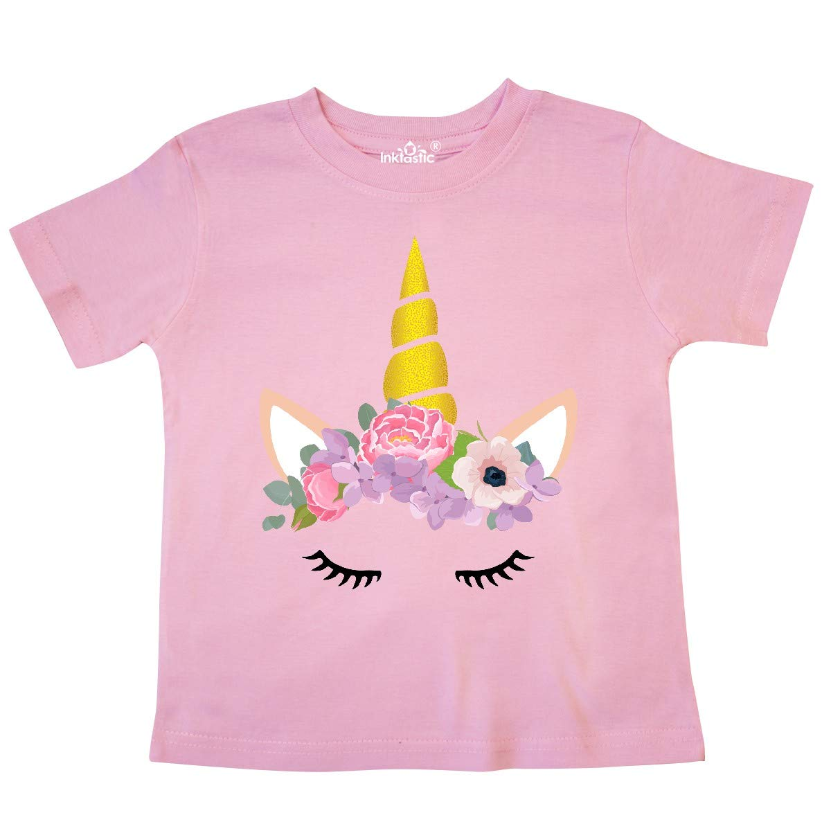 Flowers Unicorn Face inktastic Unicorn Head Pink Purple Toddler T-Shirt