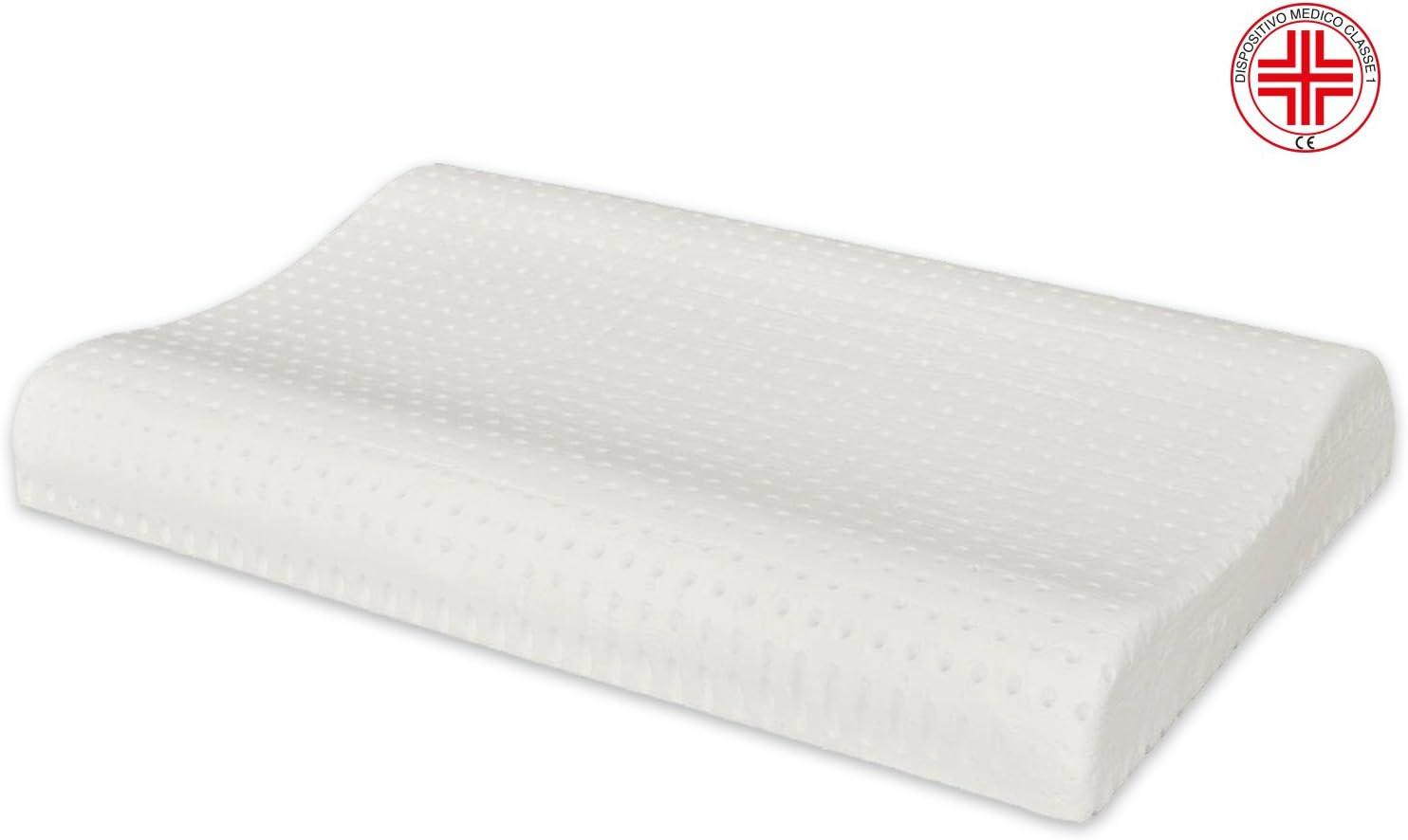 Marcapiuma – Cojín de Memory Foam modelo doble onda con funda 100% algodón almohada Memory ortopédica contra dolor cuello y cervicales dispositivo médico extraíble 19% de las tazas