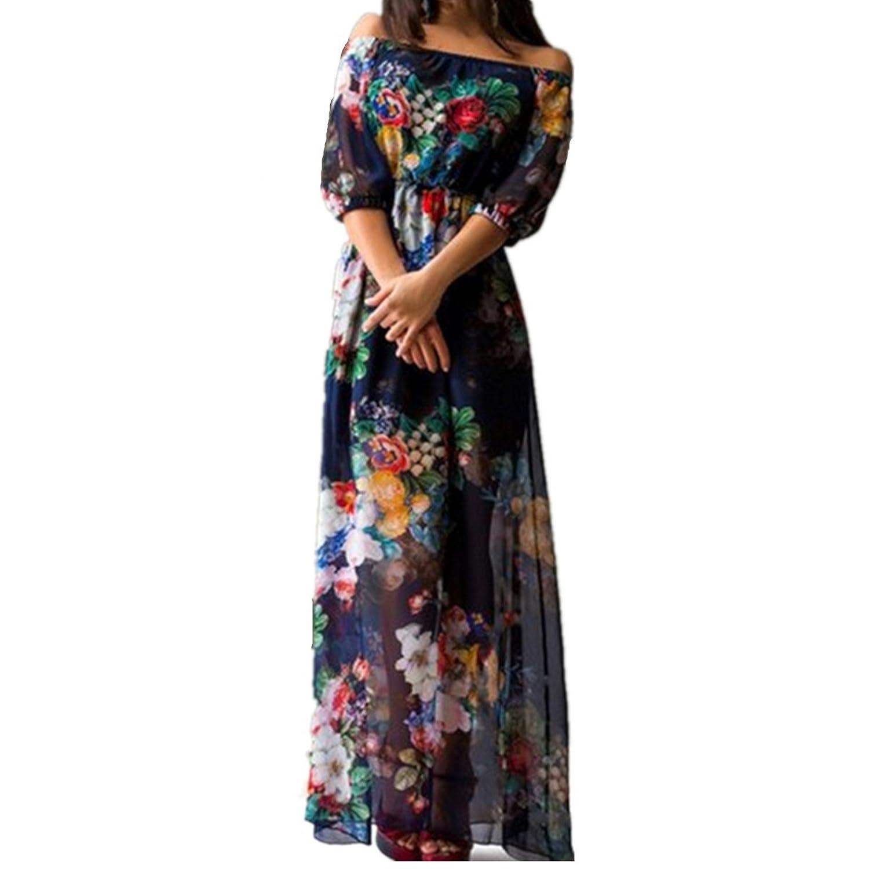 EMIN Damen Abendkleider Lang Chiffon Maxi Elegant Sexy Kleider Partykleid Abschlussball Festlich Abendmode