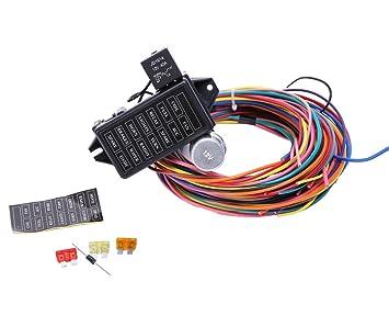 amazon com 14 circuit universal wire harness 14 fuse 12v street hot rh amazon com 14 circuit ford restoration wiring harness 14 circuit ford restoration wiring harness