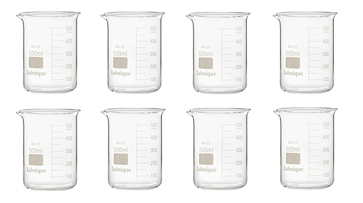 Glass Griffin Beaker, Low Form, 500ml (Pack of 8)